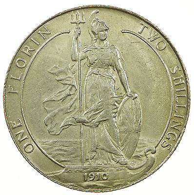 Great Britain, Edward Vii Florin, Silver, Nef, 1910