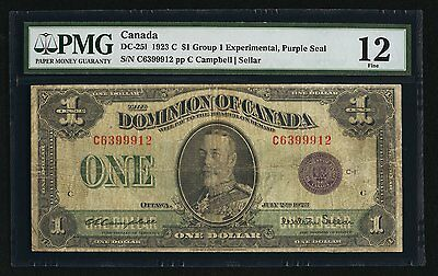 Dc-251 1923 C $1 Dominion Of Canada Group 1 Experimental Purple Seal Pmg Fine-12