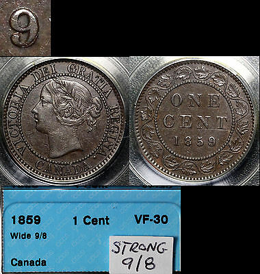 XMAS SALE! - CANADA - Large Cent - 1859 - Wide 9/8 Strong Overdate - VF30 s001