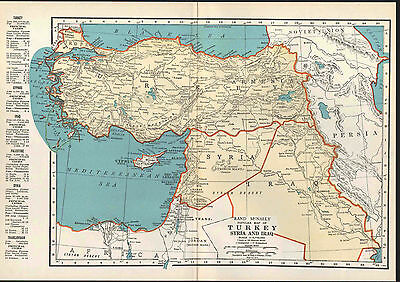 Turkey Syria Iraq Vintage Map, 1935 Original, Rand McNally, Middle East Map