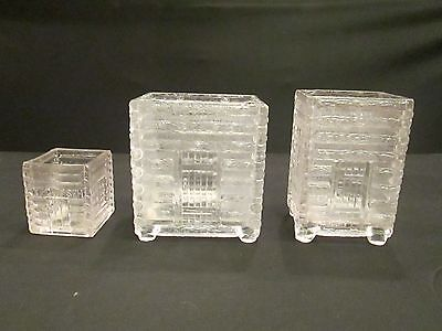 Lot 3 Vintage Clear Glass Log Cabin Canisters Bases Jars NO LIDS Tecumseh As Is