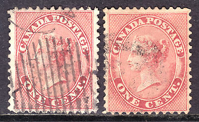 1859 FIRST CENTS ISSUE SET/2 #14-14b 1c ROSE & DEEP ROSE, F-VF, USED