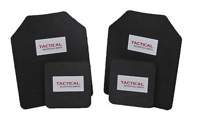 Tactical Scorpion Body Armor Plates Trauma Pads 10mm 10x12+6x6 Set For AR500