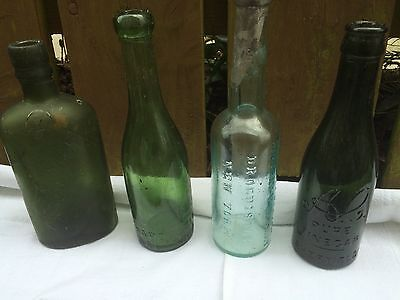 Bundle 4 chemist pharmacy bottle vintage antique apothecary Murray/Gilley/Hardy