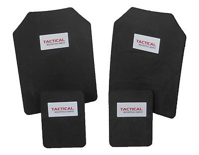 Tactical Scorpion Body Armor Plates Trauma Pads 10mm 11x14+6x8 Set For AR500