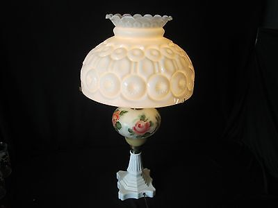 Vintage Milk Glass White Moon and Stars Pattern LG Wright Electric Lamp Roses HP