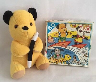 Vintage Sooty And Sweep 60 Piece Jigsaw Puzzle & Sooty Plush Soft Toy