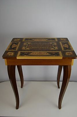Vintage Wooden Inlaid  Marquetry Jewelry Sewing Music Box Table Lockable