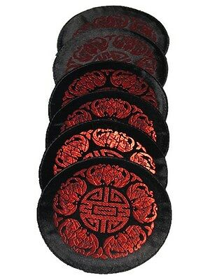 Chinese Theme, Embroidered Cotton - 6 Piece Drink Coaster Set, Choice of 3