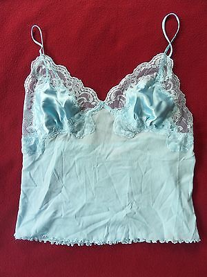 Victoria's Secret Light Blue Silk/nylon w/Lace Camisole Cami Top size M