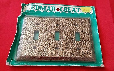 Vtg Nos Nip Edmar Creations Antiqued Brass Triple Toggle Light Switch Face Plate