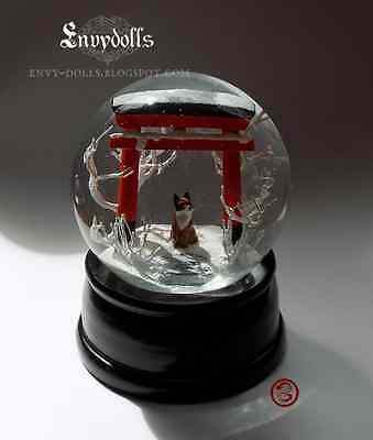 Handcrafted Japanese Shinto torii and kitsune fox Snowglobe (LARGE VERSION)