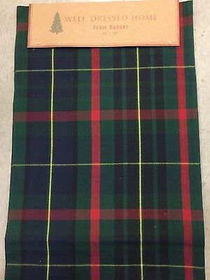 Well Dressed Home Christmas Blue Green Red Traditional Tartan Plaid Table Runner