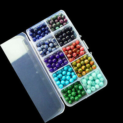 500pcs (1 box) 6mm 10 kinds of Different Material & Color Gemstone Round Beads