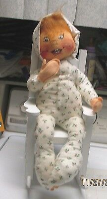 """vintage, cloth doll, hand painted face,20 """" long,with chair"""