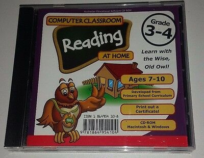 COMPUTER CLASSROOM READING AT HOME GRADE 3-4 Educational Pc Cd Rom For Ages 7-10