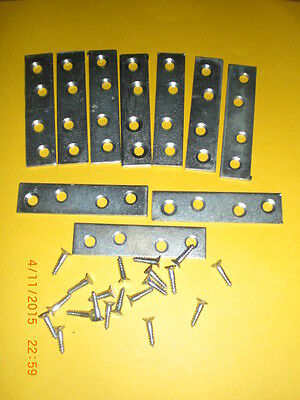 Bzp plated 75mm mending plates + screws pack of 16.