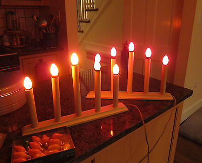 TWO VINTAGE WOOD CHRISTMAS  ELECTRIC CANDLELITE CANDOLIERS w SPARE BULBS