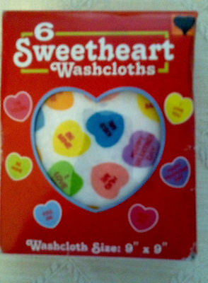 6 Sweetheart Washclothes Novelty Candy Print  On Washclothes
