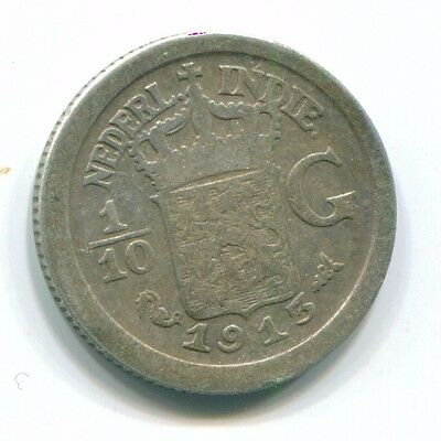 1913 Netherlands East Indies 1/10 Gulden Silver Colonial Coin Nl13285#3