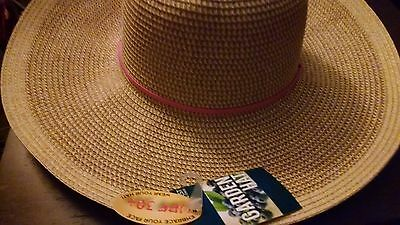 Midwest Ladies UPF 30+ Outdoor Straw Hat Pink Hand Band & Draw String New  Tag