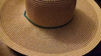 Midwest Ladies UPF 30+ Outdoor Straw Hat Blue Hand Band & Draw String New No Tag
