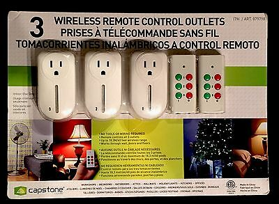 Capstone 3 Wireless Remote Control Outlets w/ 2 Remote Controls NEW SEALED!