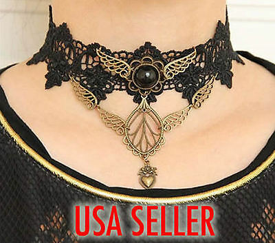 Black Lace Necklace Choker Vintage Jewel Retro Goth Victorian Steampunk Pendant