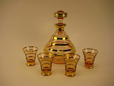 Vintage Belgium Boom Glass Decanter with 4 Shot Glasses