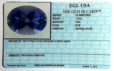 Egl Usa Certified Natural Iolite Blue 1.03 Ct. Oval Shape With Gem Id Card