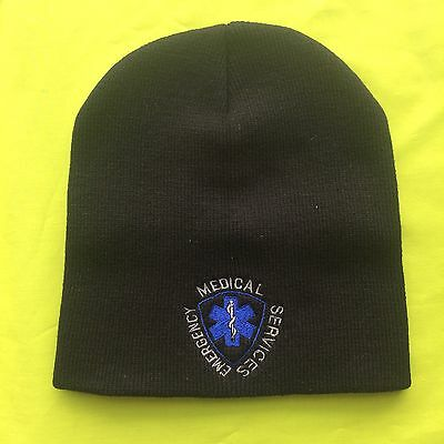 NEW Embroidered Emergency Medical Technician Black Medical EMT Knit Beanie Cap