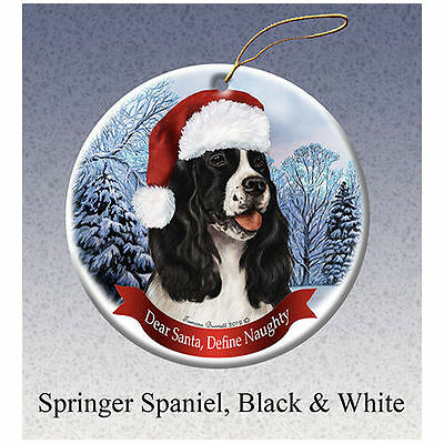 English Springer Spaniel Black Howliday Porcelain China Dog Christmas Ornament