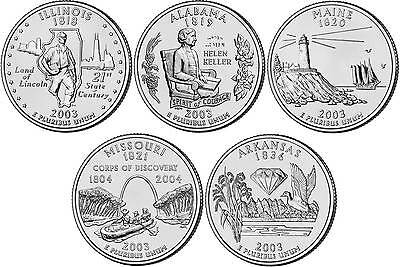 2003 US State Quarters Five Uncirculated Straight from mint US Mint