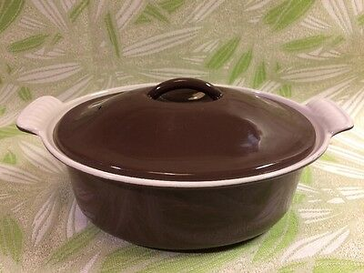 Vintage Le Creuset 1.5 Liter Brown & Cream Oval Casserole Dutch Oven Model 22