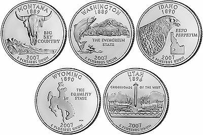 2007 US State Quarters Five Uncirculated Straight from mint US Mint
