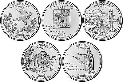 2008 US State Quarters Five Uncirculated Straight from the US Mint