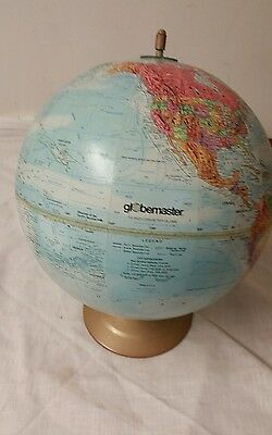 Vintage Globemaster 12 Inch Diameter World Globe Raised Relief with Metal Base
