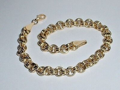 14K Yellow Gold Double Curb Link Charm Bracelet