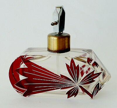 DRAMATIC Karel Palda Czechoslovakian ART DECO ruby cut clear PERFUME ATOMIZER