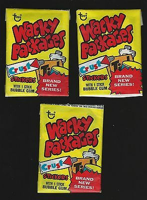 "1975 Topps Wacky Packages - 3 Unopened 14th Series Yellow Packs ""85"" Fold"