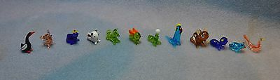 Vintage Lot of 12 Hand Blown Glass Animal Figures, Original Packaging NIB