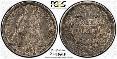 PCGS Graded AU53 1857 Seated Liberty Dime 10C Coin