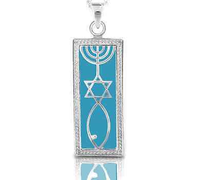 925 Sterling Silver Grafted In Messianic Pendant in Turquoise