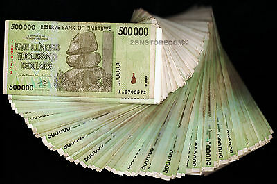 500,000 Zimbabwe Dollars X 50 Banknotes 2008 ½ Bundle [50PCS of Half Million Z$]
