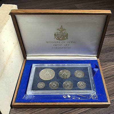 1981 Kingdom Of Nepal Proof Set Coronation With Silver Coin 25 Rupees