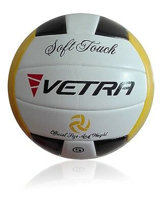 Vetra Volleyball Soft Touch Ball Official Black/Yellow/White Outdoor Indoor Game