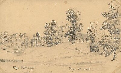 B. Stanton, St Mary's Church & Vicarage,Foy - 19th-century graphite drawing