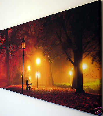 "Autumn Leaves In The Park Canvas Wall Art Picture Large 18"" X 32"""