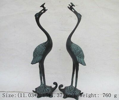 Ancient Chinese bronze a pair of red-crowned cranes. The best statue/2