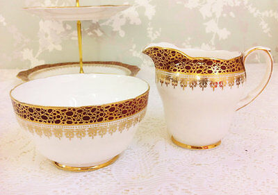 Creamer and Sugar Bowl, Burgundy and Gold Lace, Duchess
